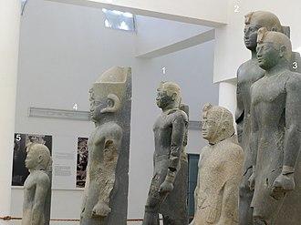 Kerma - Statues of pharaohs of the Nubian Twenty-fifth Dynasty of Egypt discovered near Kerma.