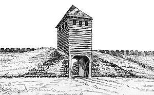 Anhand der Ausgrabung rekonstruierter Torbereich mit Turm
