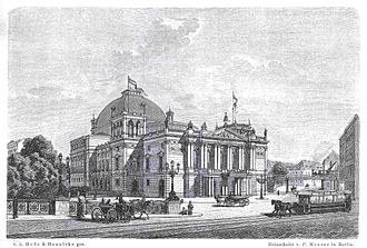 Lessing Theater - Theatre in its opening year in 1888 with horse trams and Stadtbahn viaduct