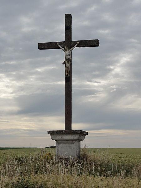 Berrieux (Aisne), croix de chemin D18, sud