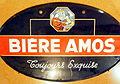 Bière Amos - Toujours Exquise, enamel advert sign at the Musée Européen de la Bière.JPG