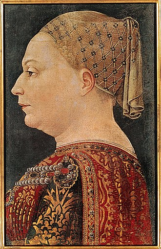 Francesco I Sforza - Bianca Maria Visconti in a portrait by Bonifacio Bembo, Pinacoteca di Brera, Milan.