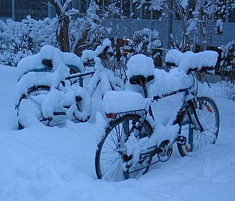 Cold-weather biking - Bicycles parked in a rack in the snow.
