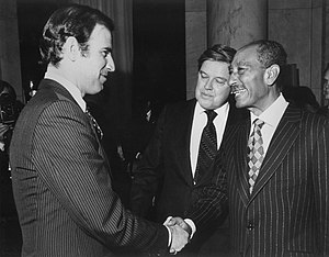 Joe Biden - Senator Biden, Senator Frank Church and President of Egypt Anwar el-Sadat after signing Egyptian–Israeli Peace Treaty, 1979