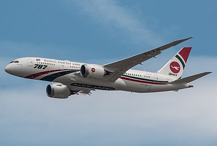 Biman Bangladesh Airlines is the largest airline based in the Bengal region Biman Bangladesh Airlines, S2-AJS, Boeing 787-8 Dreamliner - EGLF (41646443610).jpg