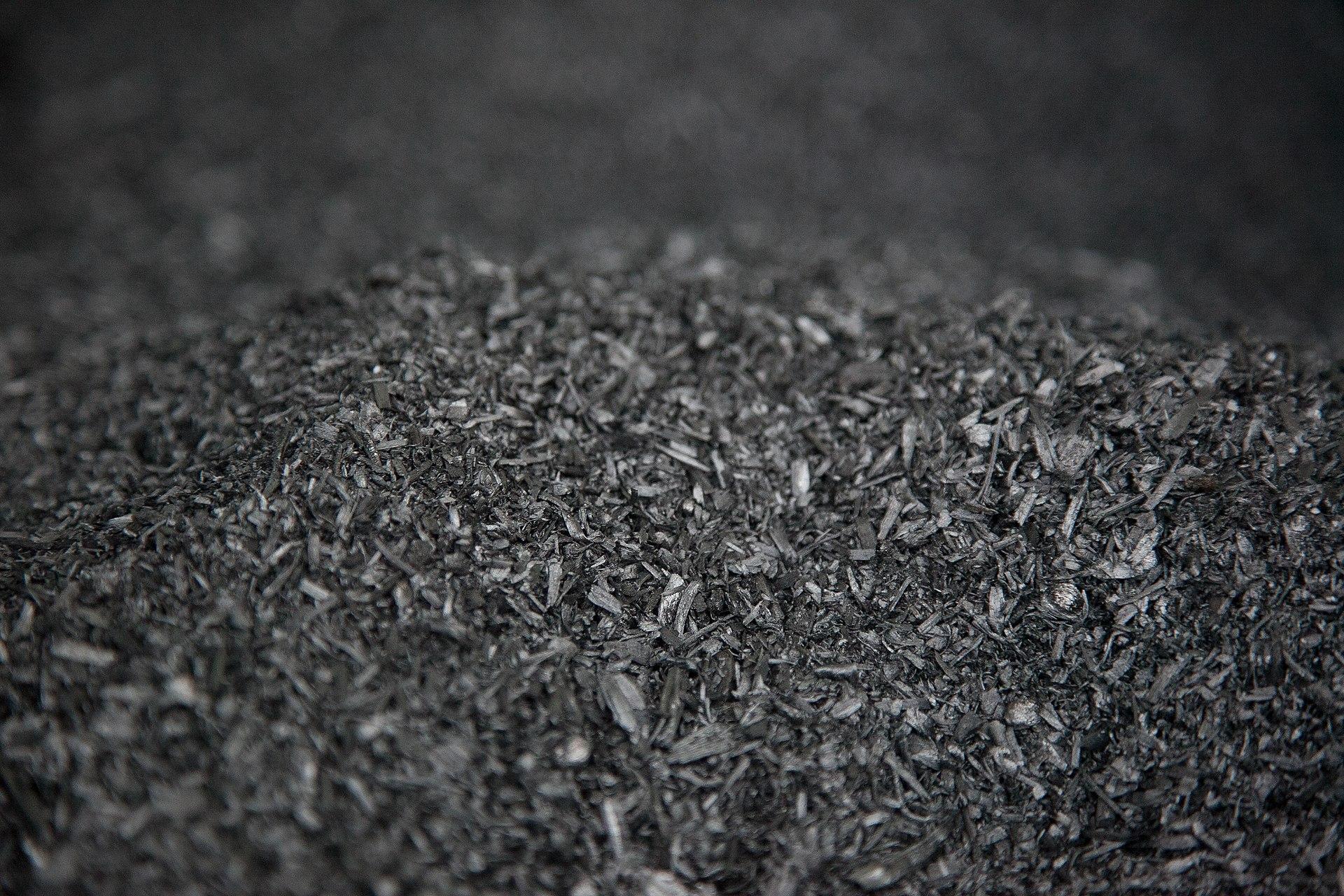 A large pile of biochar