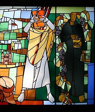 Wigbert - Saint Wigbert and Saint Boniface. Stained glass window by Alois Plum.