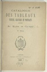 Catalogue des tableaux, statues, gravures et portraits exposés au musée de Castres