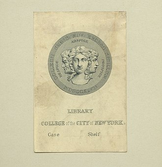 City College of New York - College library bookplate with an early version of the college seal from the era when the institution was named the College of the City of New York, 1866–1929