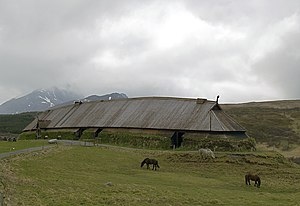 Longhouse - A reconstructed Viking chieftain's longhouse at the Lofotr Viking Museum in Lofoten, Norway
