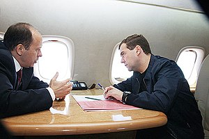 Federal Security Service - President Dmitry Medvedev meeting with FSB Director Alexander Bortnikov on the way from Moscow to Dagestan's capital Makhachkala in June 2009