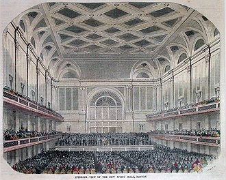 "Boston Hymn - An artist's rendering of Boston Music Hall, where Emerson first read ""Boston Hymn"""