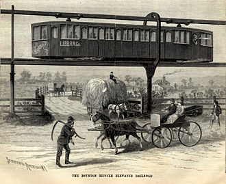 Boynton Bicycle Railroad - Boynton Bicycle Elevated Railroad as shown in the Scientific American of 17 February 1894