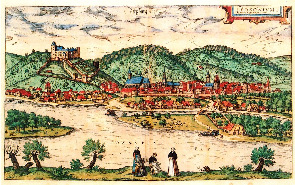 Illustration de Bratislava (1588) par Wolfgang Lazius