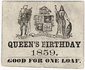 Bread ticket for royal birthday 1859 Toronto Canada.jpg