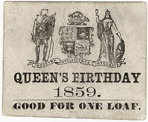 Queen's Official Birthday - A bread ticket from the City of Toronto granting the holder one loaf in celebration of the Queen's birthday