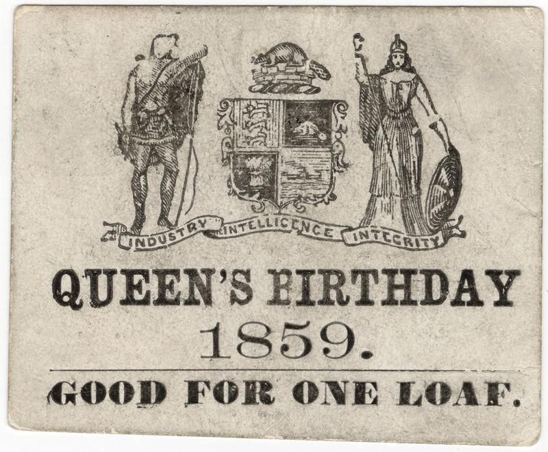 Bread ticket for royal birthday 1859 Toronto Canada.jpg