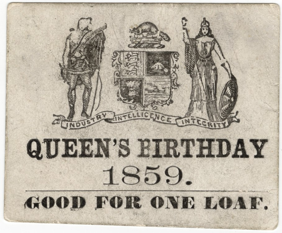 Bread ticket for royal birthday 1859 Toronto Canada