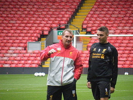 Liverpool manager Brendan Rodgers instructing Aspas in August 2013 Brendan Rodgers and Iago Aspas.jpg