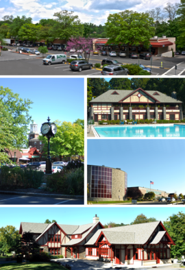 A medley of different scenes to represent the diversity of the village. At top is a photo of a street on the village's business district. Above center, right shows the Village Pool as part of Law Memorial Park. Below center, right shows Briarcliff Manor's high school. At the bottom is the village library, part of which was once Briarcliff's train station. Center, left shows the central business district with Briarcliff Manor's pocket park and clock in the foreground, and the old Municipal Building in the background.