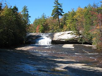 The Hunger Games (film) - The scene where Katniss tracks down Peeta was filmed at Bridal Veil Falls in DuPont State Forest.