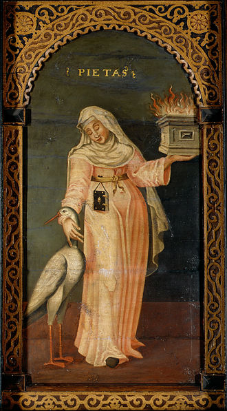 Piety - Mother Mary next to a Pelican, Flaming coffin, rites and venerated dead, Romanticized, Piety