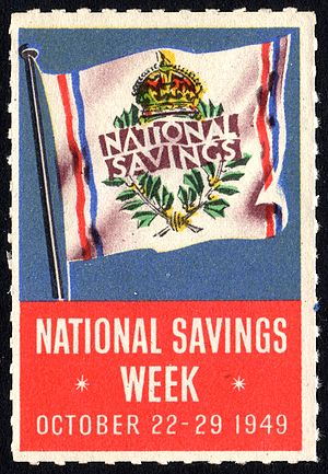 National Savings and Investments - A National Savings Week publicity label from 1949.