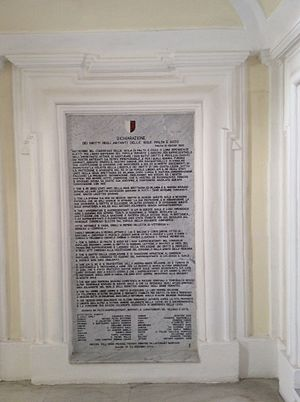 Plaque of the Rights of man during the British Protectorate (1802) at Palazzo Parisio British palazzo parisio.jpg