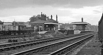 Train station - Broad Green station, Liverpool, England, shown in 1962, opened in 1830, is the oldest station site in the world still in use as a passenger station.