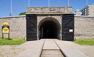 Brockville - The south portal of the Brockville Tunnel, Canada's first railway tunnel, opened in 1860