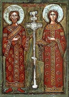 """Icona ortodossa bulgara con la santa e suo figlio Costantino il Grande e la """"vera croce""""."""