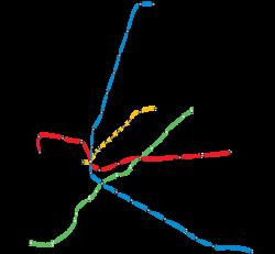 A 4-es metró első és második szakaszának nyomvonala (zöld színnel)