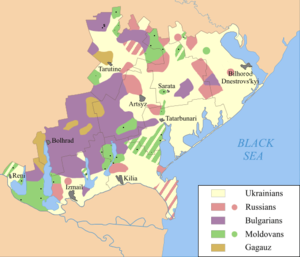 Bulgarians in Ukraine - Bulgarian-inhabited areas in Budjak (purple)