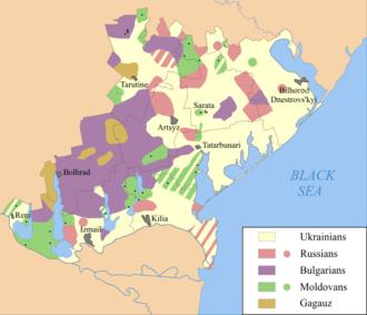 Bessarabian Bulgarians - Bulgarian-inhabited areas in Budjak (purple)
