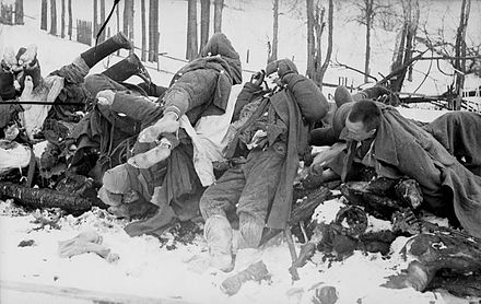 Dead Soviet soldiers, January 1942. Officially, roughly 8.7 million Soviet soldiers died in the course of the war. - World War II casualties
