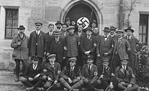 Deutschvölkischer Schutz- und Trutzbund - Delegation of the NSDAP (Nazi party) during the German Day organized by the Deutschvölkischer Schutz- und Trutzbund at Coburg, 1922.