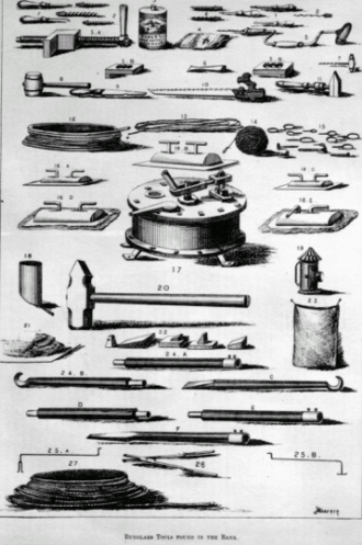 Burglary - Burglars Tools Found in the Bank, printed in 1875 in the Canadian Illustrated News