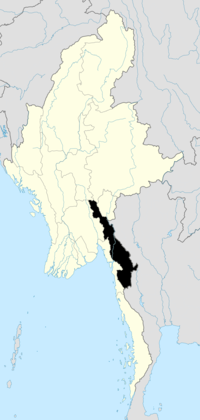 Location of Kayin State in Burma