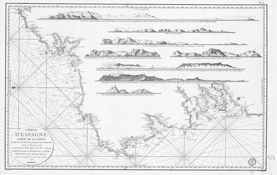 Côtes d'Espagne partie de la Galice depuis le Cap Ortegal jusqu'au Cap Silleiro d'après les Plans levés en 1787 par Don Vicente Tofiño officier de la Marine d'Espagne