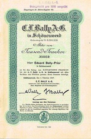 Bally Shoe - Share of the C. F. Bally AG, issued 3. October 1907