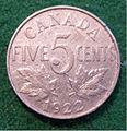 CANADA GEORGE V, 5 CENT NICKEL 1922, FIRST ISSUE FULLSIZED b - Flickr - woody1778a.jpg