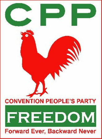 "Kwame Nkrumah - Red cockerel, ""Forward Ever, Backward Never"": Convention People's Party logo and slogan"