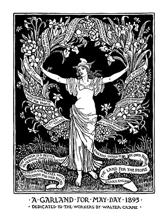 "Merry England - ""A Garland for May Day 1895"" woodcut by Walter Crane"