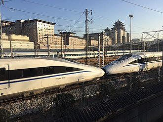 China Railway CRH380A - Consolidated models of CRH380A are often double-headed in operation (seen at Beijing West Railway Station)