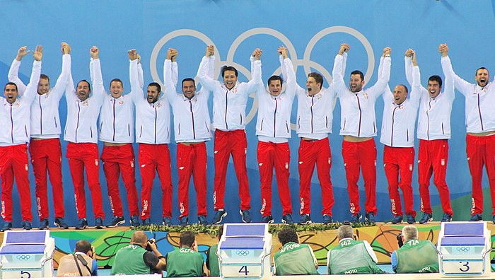 Serbia men's national water polo team held Olympic Games, World Championship, European Championship, World Cup and World League titles simultaneously in period from 2014 to 2016 Campeoes!.jpg