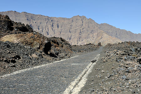 Cape Verde, island of Fogo: road towards Chã das Caldeiras in the caldeira of the volcano Pico do Fogo.