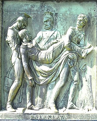 """William Morris (British Army officer) - Captain William Morris, 1860 bronze relief panel sculpted by Edward Bowring Stephens, on his monumental obelisk on Hatherleigh Moor, Devon. Inscribed on base: """"BALAKLAVA"""""""