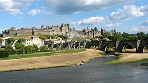 Albigensian Crusade - Carcassonne with the Aude river in the foreground