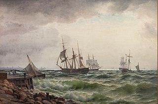 Skibe under land efter en byge