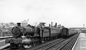 Carmarthen railway station - Stopping train for Milford Haven in 1958